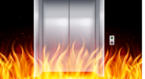 picture of flames outside closed lift doors to illustrate Elmelin's fire control solutions