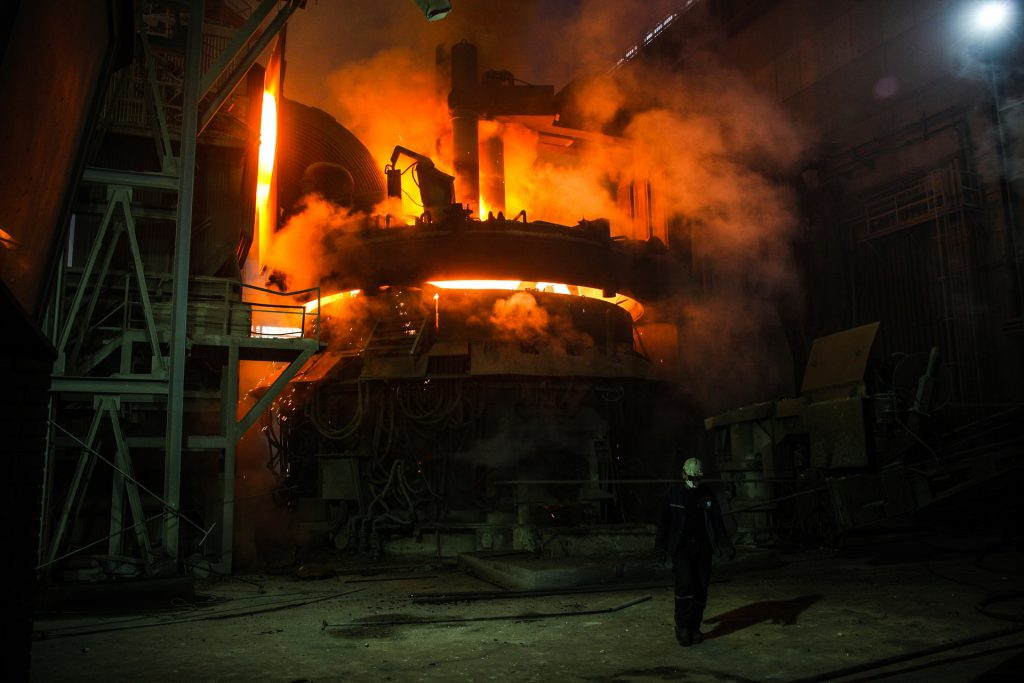 image of blast furnace which requires high temperature furnace safety systems