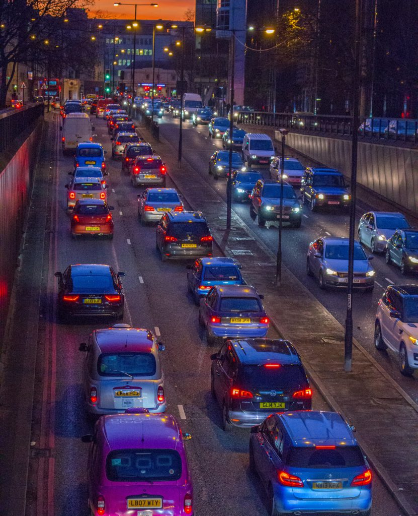 cars in a trafficjam to represent blog about reducing emissions through industrial insulation