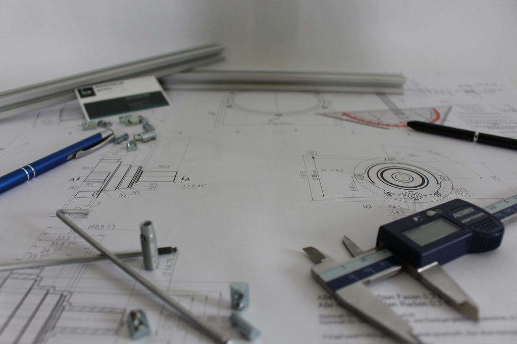 technical drawing being done as part of prototyping process