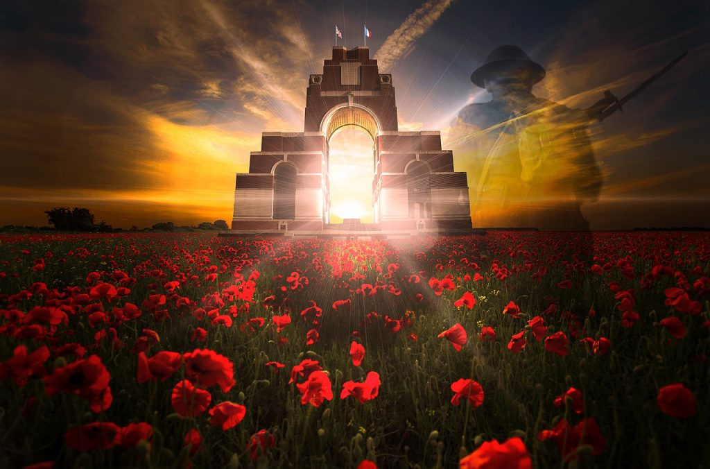 WW1 memorial with poppies for blog by Elmelin on military vehicles through the ages