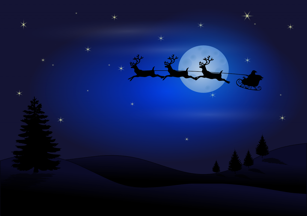 starry night with santa riding his sleigh with reindeer for blog by Elmelin's Christmas message